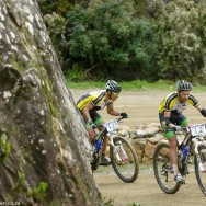 Kevin Evans & David George with 2km to go to win the richest stage in South African cycling history during the Bridge Pioneer Trek MTB marathon